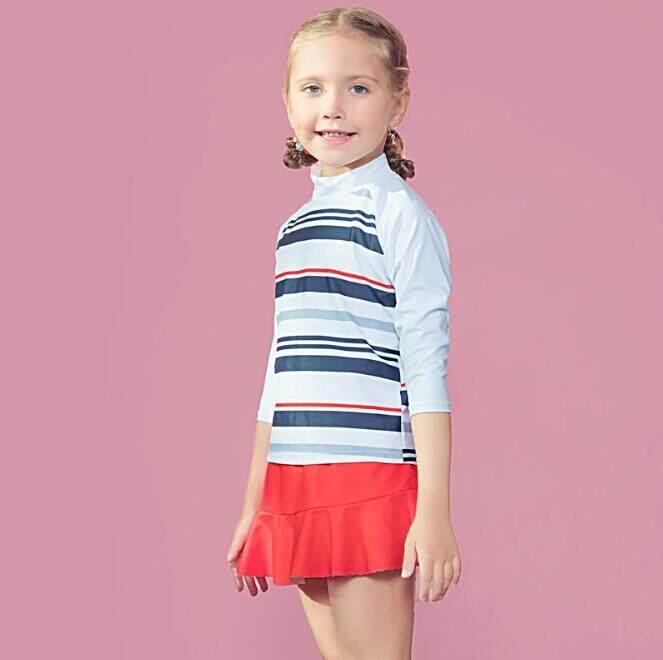 59b4eeb6d82 Yingtuoman 1pcs/lot Kid Cute Spa Stripes Two-Piece Swimsuit Long Sleeve  Sunscreen With
