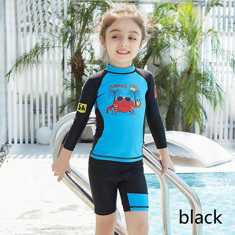 8ff3013f80 Children Two-pieces Swimsuit Quick Dry Wetsuit Long Sleeve Shorts Swimwear  Sun UV Protection Boys
