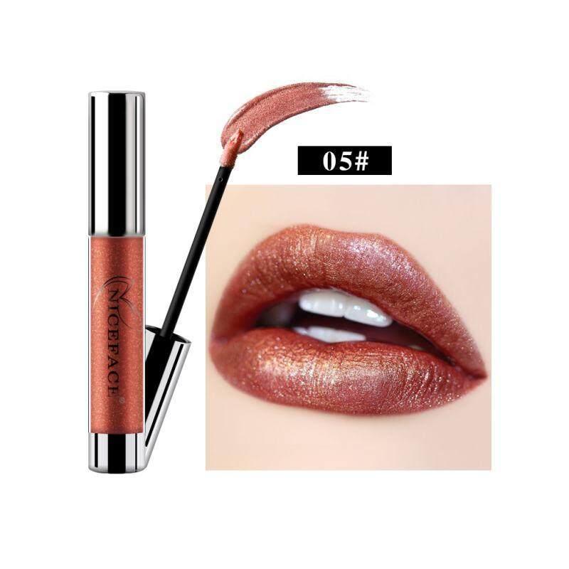 Lissng NICEFACE Non-stick Cangkir Tidak Pudar Logam Pelembap Bibir Melembapkan Tahan Lama Lipstick Cair Yang Unik Shinning & Kelembaban Formula Pelembap Bibir 5 #
