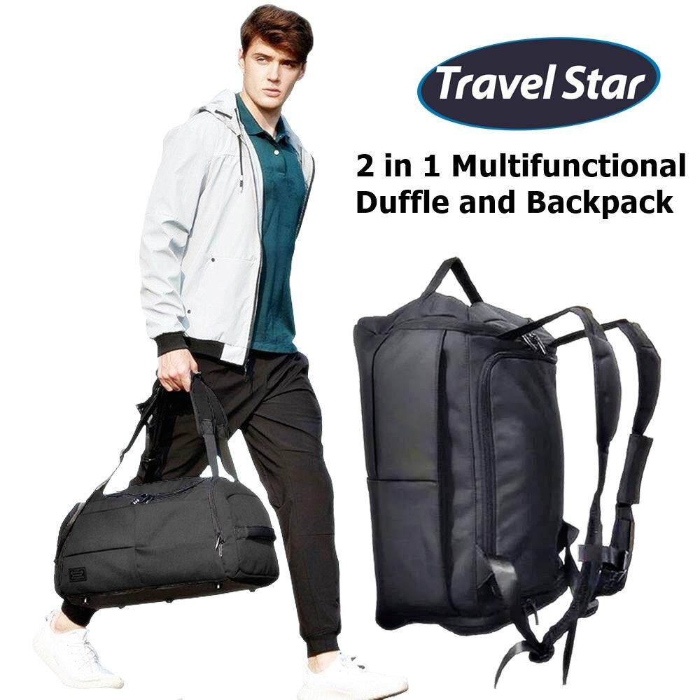 (RAYA 2019) Travel Star 1789 2 in 1 Duffle and Double Straps Travel Backpack Gym Bag with Shoe Compartment (Free Password Pad Lock)