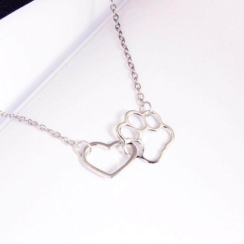 Heart Dog Footprint Necklace for Women Hollow Chain Pendant Necklace Women Colar