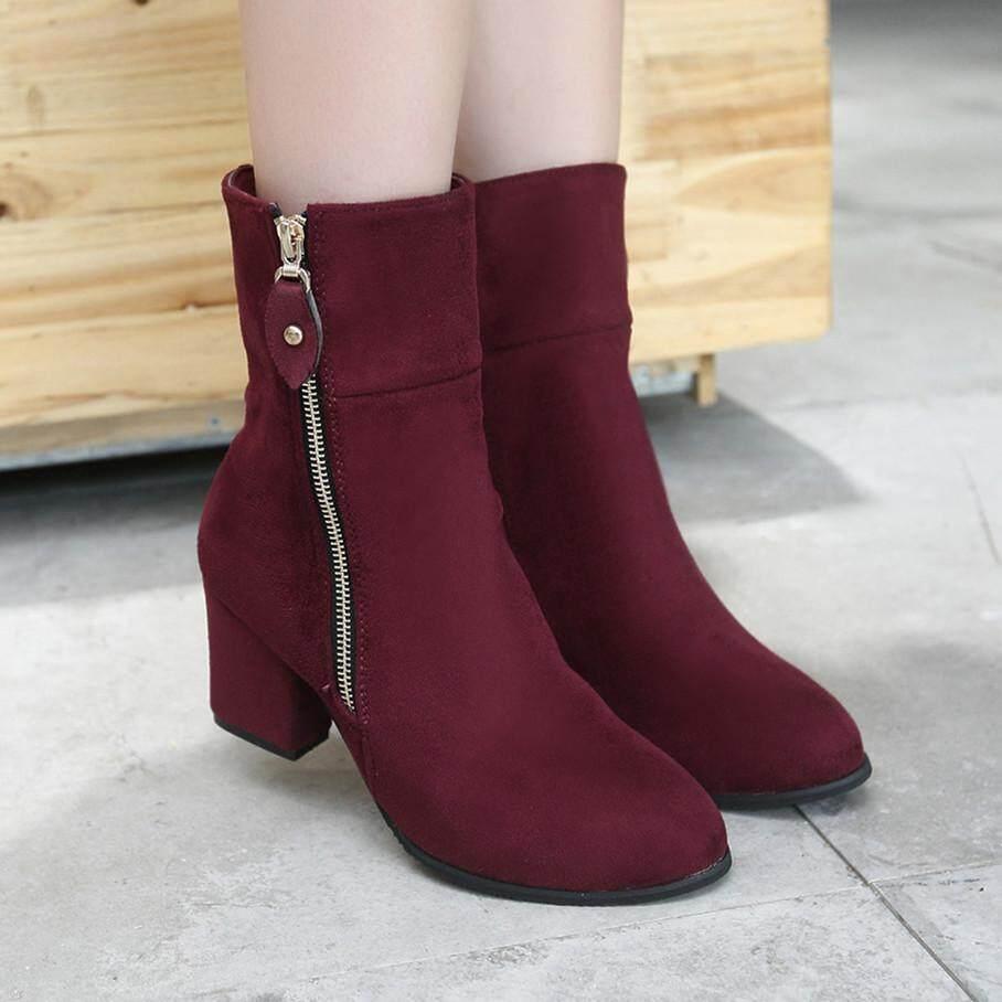 Rongx Mode untuk Wanita Sepatu Bot Setumit Kualitas Tinggi Wanita Sepatu Hak Blok Sepatu Kasual Zip Boot Fashion