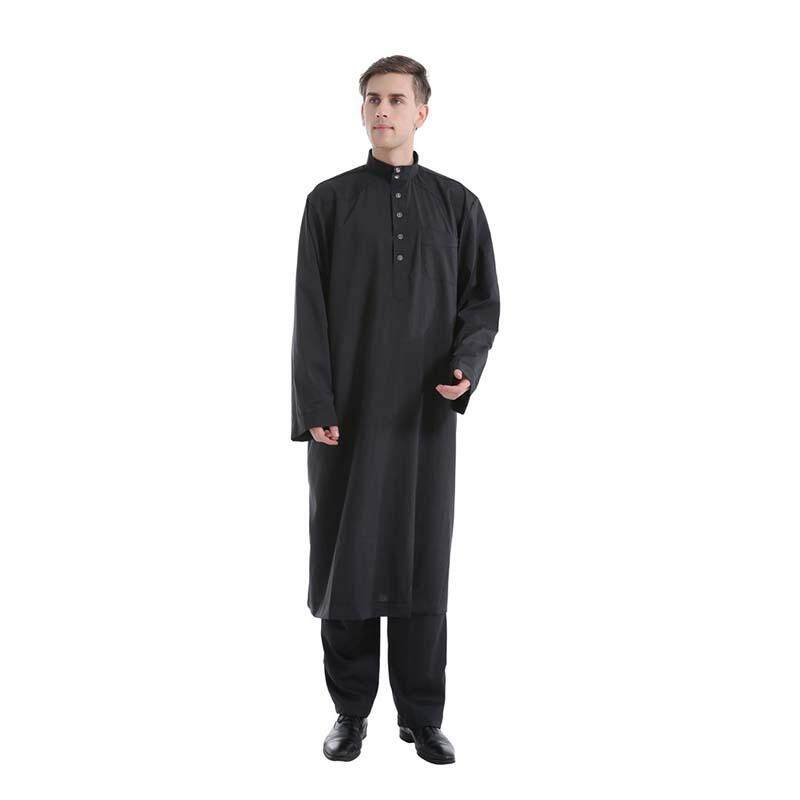 (Gamis + Celana) musim Panas 2 Pcs/set Muslim Pria Jubah Celana Panjang Solid Timur Tengah Pakistan Islam Pria Thobe Pakaian Muslim Set-Intl