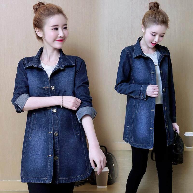 f5dd1408949 2018 Spring New Women s Clothing Long Section Slim Long-sleeved Denim  Windbreaker Jacket Women Coat