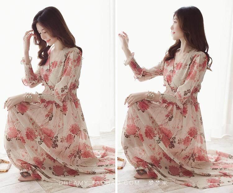 Musim semi dan musim panas Floral Sifon gaun peri Elegan wanita yang bermoral chic gaun panjang Retro Korea Selatan I-style murid Super elegan Gadis Mori - 3