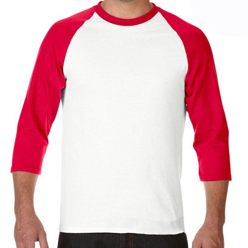 Men 3/4 Sleeve Plain T-Shirt Baseball Raglan Jersey Sports Fashion Casual Tee