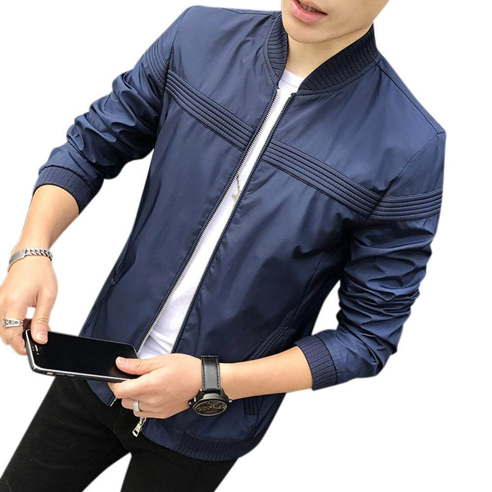 f93062e1f Men Jacket Casual Long Sleeve Baseball Coat Slim Fit Thin Outwear Overcoat  for Spring Fall
