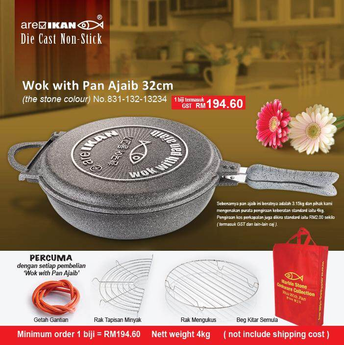 Hot!!! Menang Glassware Wok with Pan ajaib