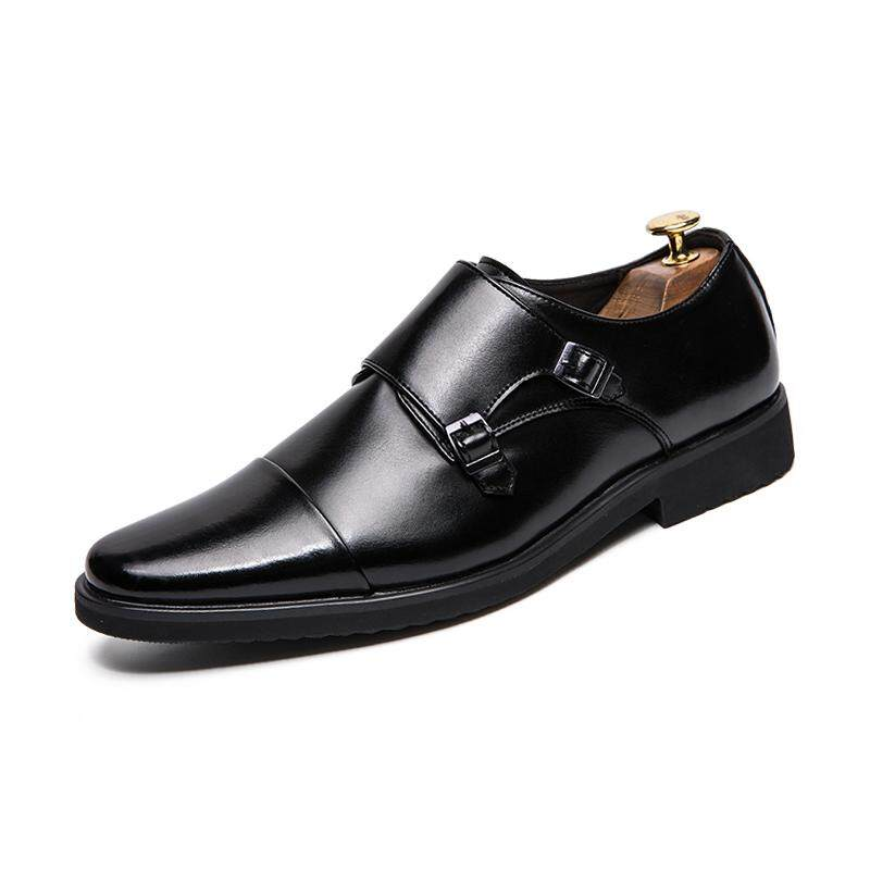 Big Size 38~48 Leather Men Formal Shoes Pointed Toe Weddings Monk Strap  Dress 2becb60ee759