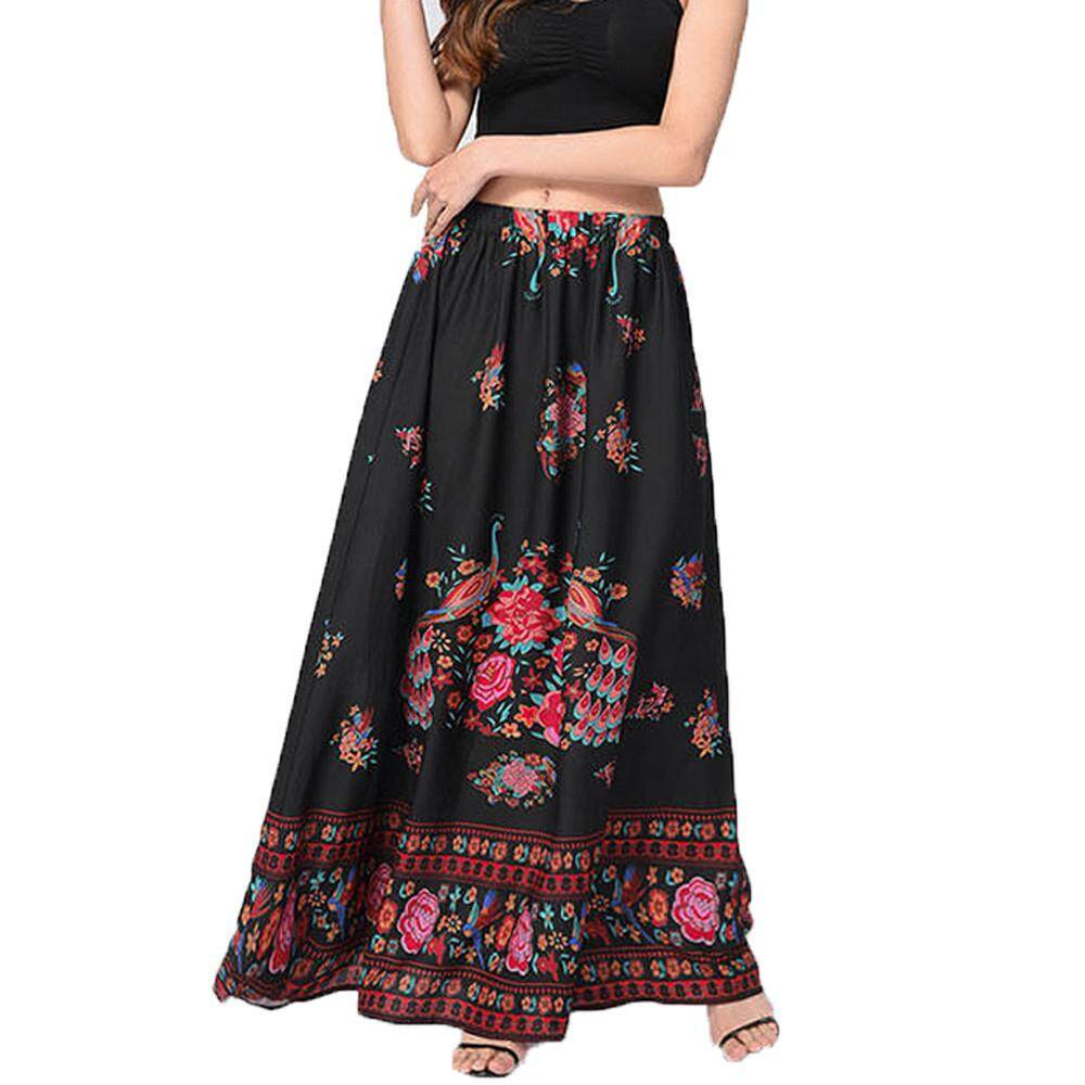 77e370c8a5 Women Boho Maxi Skirt Beach Floral Summer High Waist Long Skirt