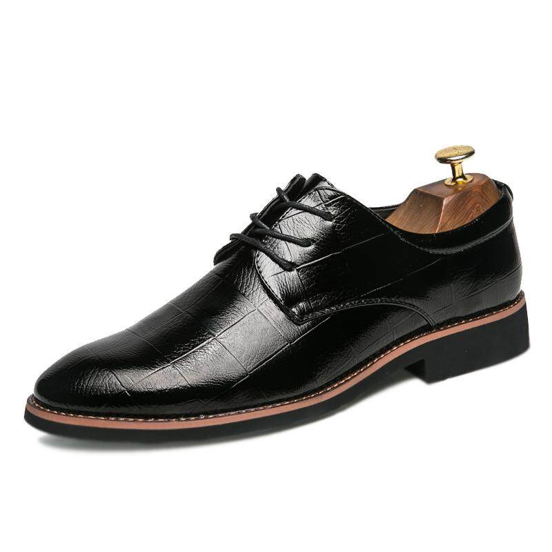 Business Men Formal Shoes Lace-up British Style Office Party Wedding Fashion Oxford Shoes Fesyen Lelaki Kasut Kulit Pejabat Perniagaan - intl