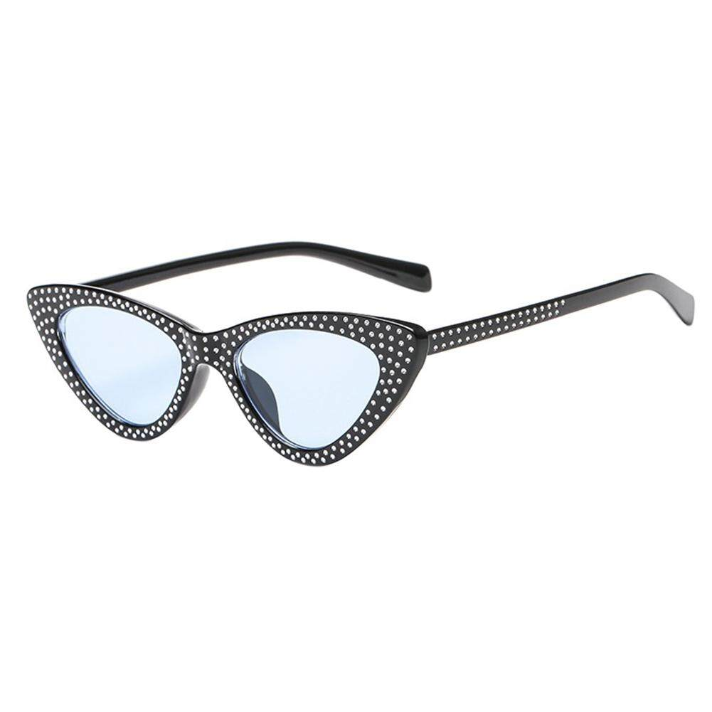 Qimiao Vintage Wanita Mata Kucing Kacamata Fashion Berlian Imitasi Olahraga Snap Jalan Kacamata Hadiah Ulang Tahun