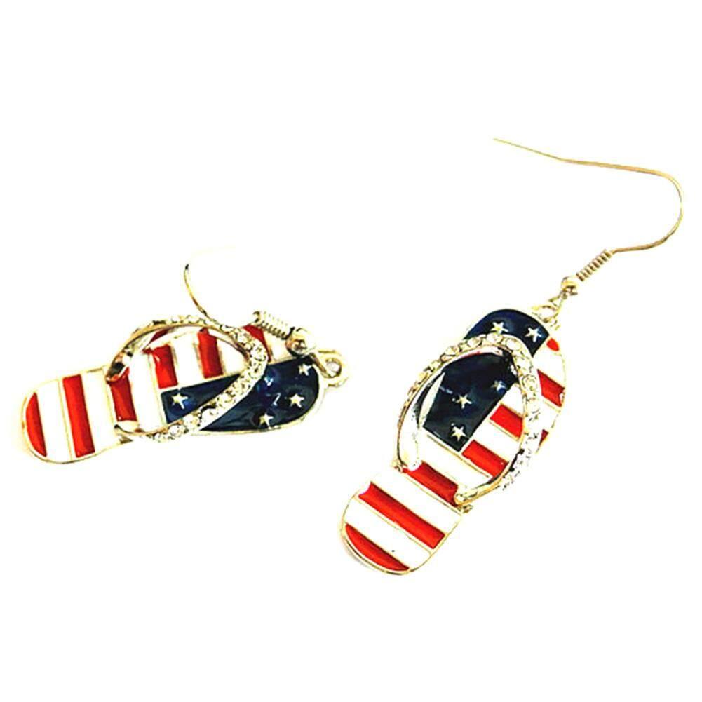 Fancyqube Bendera Amerika 1 Pair Gaya Busana Telinga Kait Perhiasan Wanita Nasional Enamel Sandal Bentuk Dangle Anting-Anting Amerika Serikat Bendera Anting-Anting -Internasional