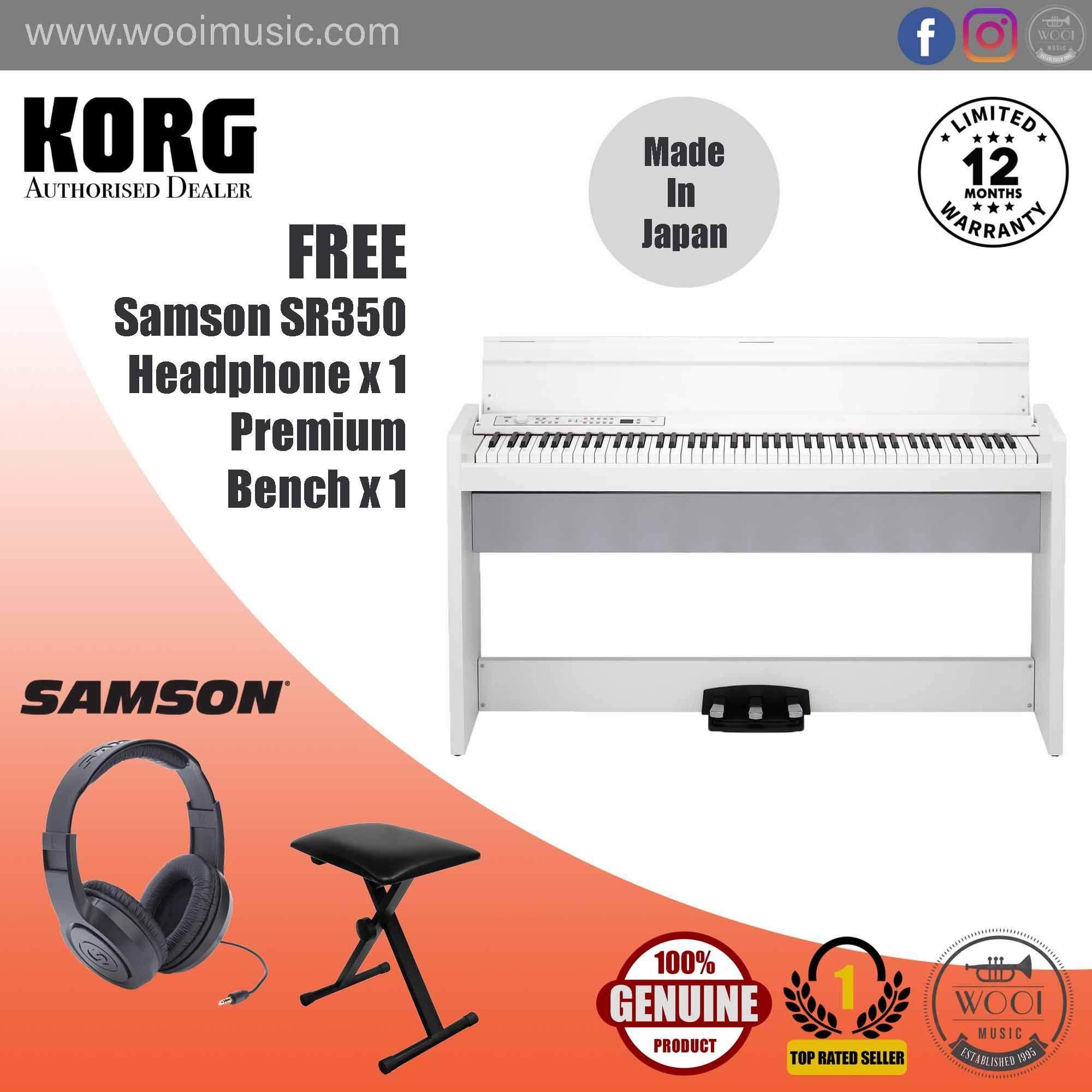 Korg LP380-WH Digital Piano White (88Keys) with Stand & 3 Unit Pedal (Made In Japan) (FREE Samson SR350 Headphone & Premium Keyboard Bench)
