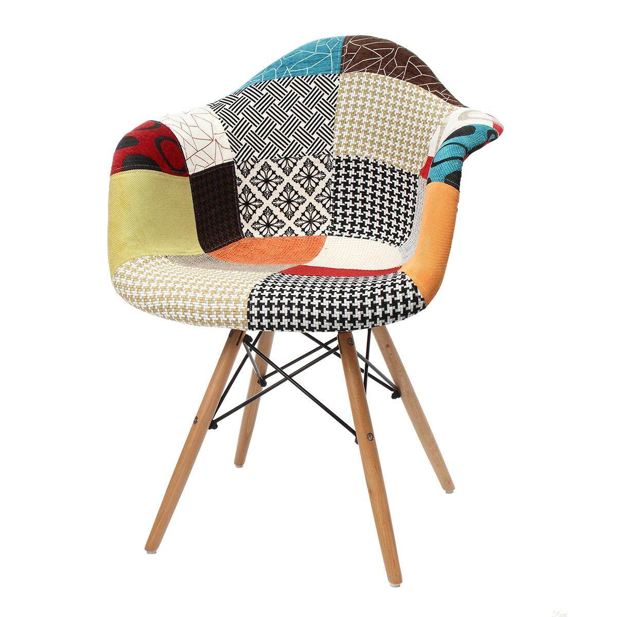 Patchwork Armchair for Dining Room Lounge - Fabric Reto Vintage - Eiffel Style