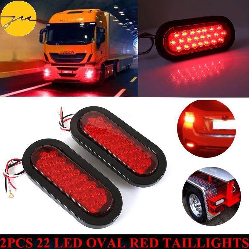 JMS Rear Lamps Tail Lights Durable Oval 2pcs 22LED DC 12V Automobile