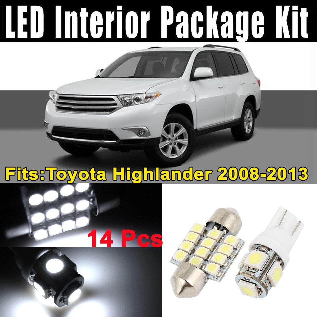 SA YANYI 14Pcs LED Lights White Interior Dome Map Lamp Kit for Toyota Highlander 2008-