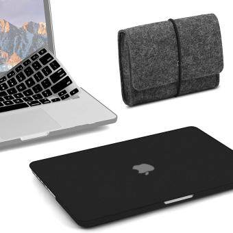 3 in 1 Bundle Felt Storage Pouch Bag & Soft-Touch Matte Plastic Hard Case with Keyboard Cover for MacBook Air 13 inch (Model: A1369/ A1466) (Release 2018/ 2017/ 2016 / 2015 / 2014 / 2013 / 2012 (NEWEST VERSION))