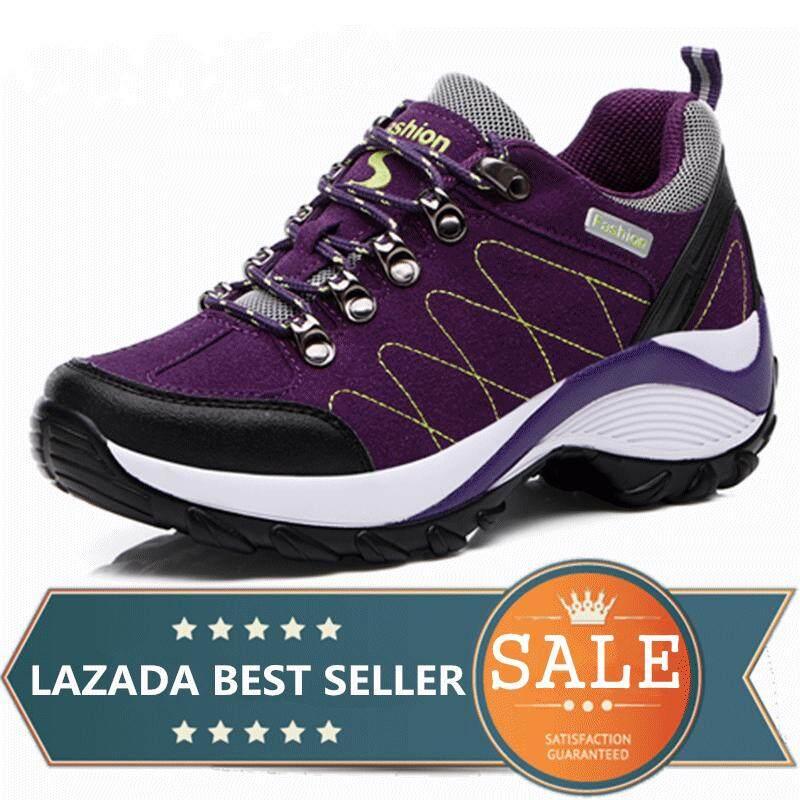 Waterproof Hiking Shoes Women Height Increasing Climbing Mountain Shoes Women Leather Outdoor Hiking Boots (purple) By Taishanzhishi.