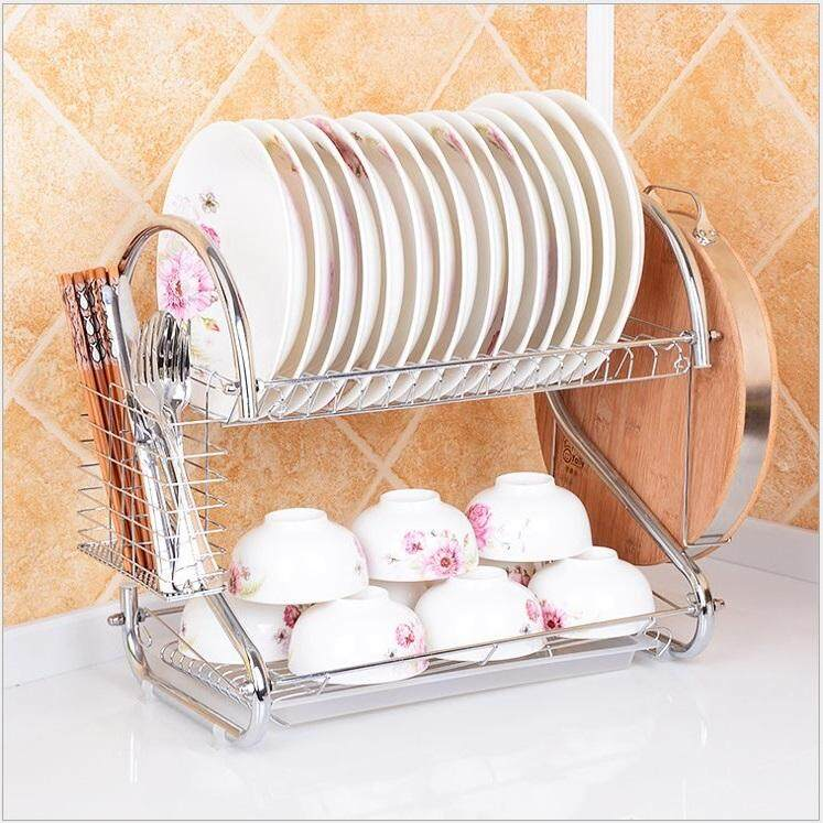 STAINLESS STEEL DISH RACK DRAINER RACK 2 LAYER