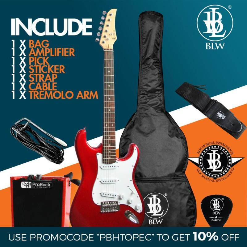 [USE VOUCHER 10% OFF] BLW Stratocaster Style Electric Guitar Starter Beginner Pack comes with ProRock Amplifier, Bag, Cable, Strap, Pick and Merchandise Sticker (Red) Malaysia