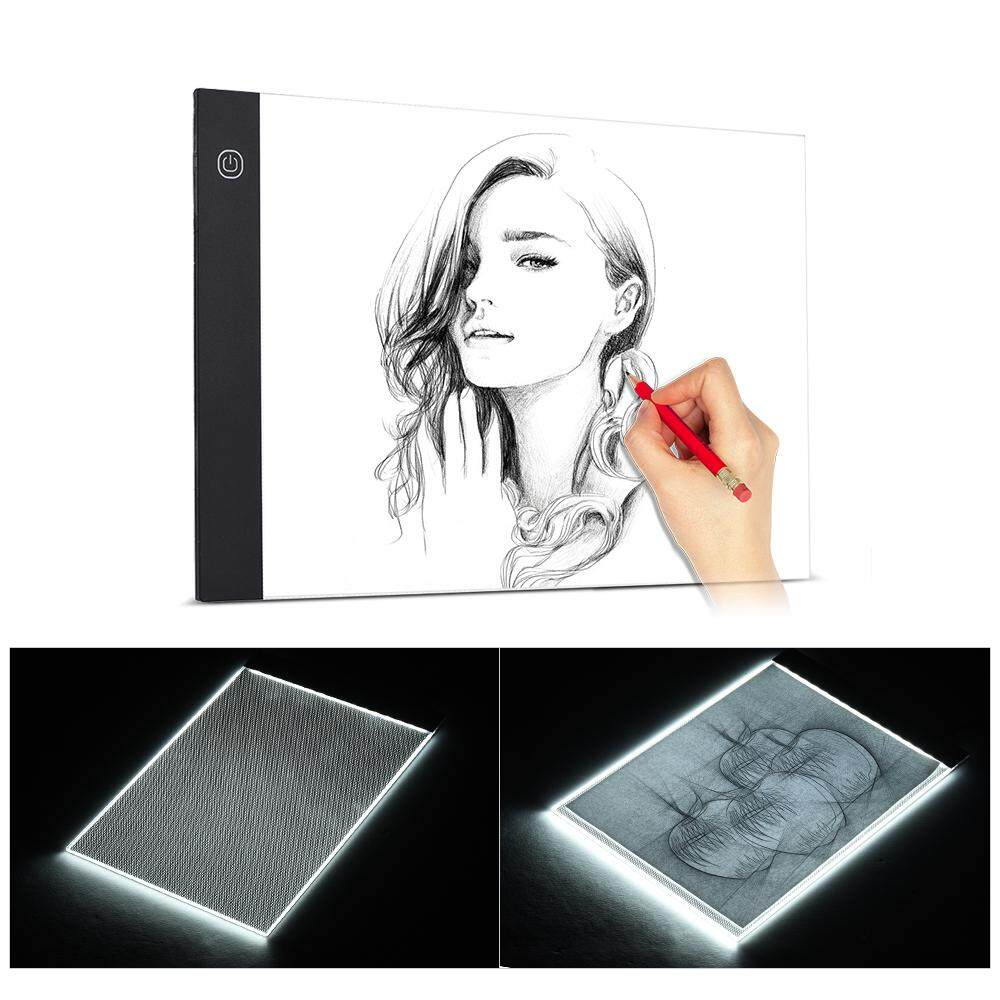 A4 Size Ultra-thin LED Light Pad Box Painting Tracing Panel Copyboard USB Powered Stepless Adjustable Brightness for Cartoon Tattoo Tracing Pencil Drawing X-Ray Viewing - intl