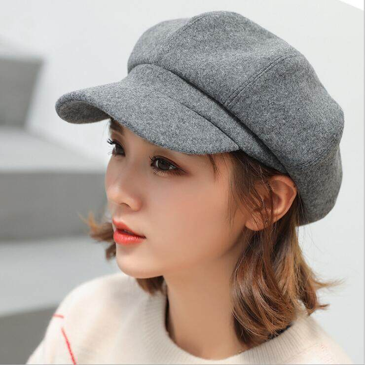 ded53a39c62be Wool Women Beret Autumn Winter Octagonal Cap Hats Stylish Artist Painter Newsboy  Caps Black Grey Beret