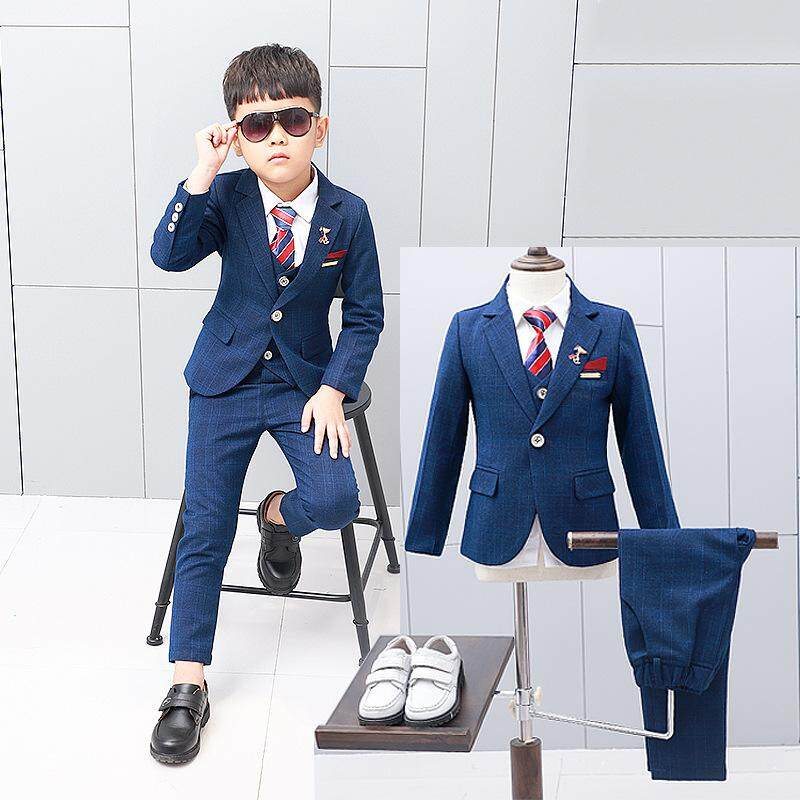 59b124b5f45ff New 3PCS Kids Plaid Wedding Blazer Suit Boys Formal Tuxedos School Suit Kids  Spring Clothing Set