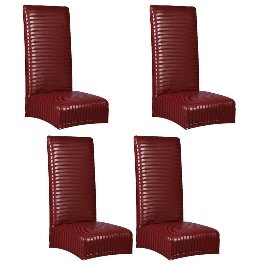 GuangquanStrade 4 Pieces Chair Covers PU Leather Spandex Seat Cover Wedding Banquet Decor