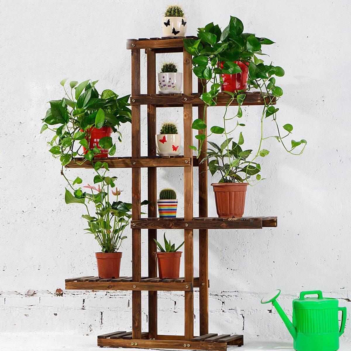 Bamboo Wooden Plant Stand Indoor Outdoor Garden Planter Flower Pot Stand Shelf - intl