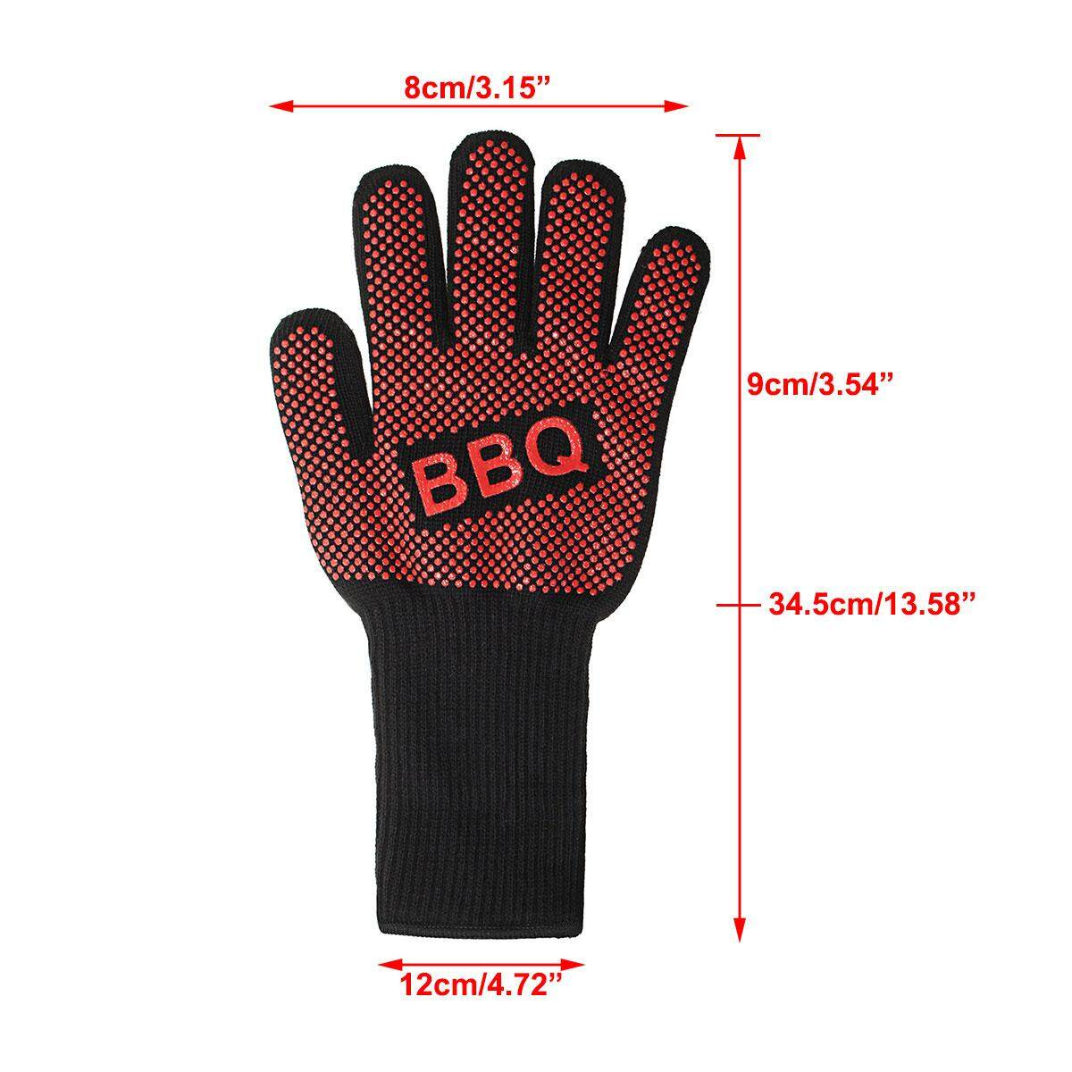 2Pcs Heat Proof Resistant Oven BBQ Gloves 35cm Kitchen Cooking Silicone Mitt