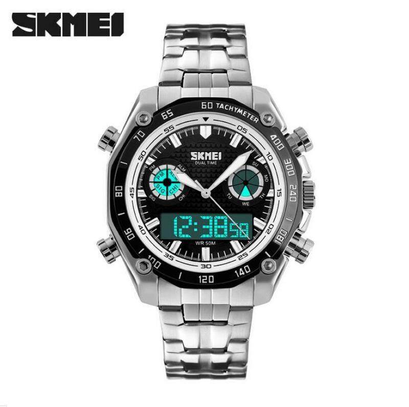 Skmei 1204 Sports Watches Men Fashion 30M Waterproof LED Electronic Luxury Watch 2018 Shock Stainless Steel Dual Display Business Mens Wristwatches Malaysia