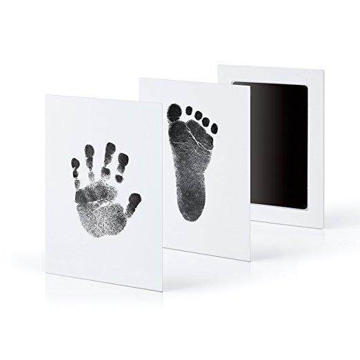 2 Pcs Newborn Baby Handprint Sticker Footprints Pad For Infant Toddler Safe Clean Non-Toxic Clean Touch Ink Pad Memorial Stickers By Guasslee.