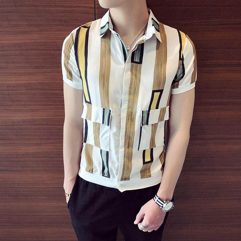 7c406e0b42a Summer Wear Fashion Hong Kong Style Short-sleeved Shirt man Korean Style Slim  Fit Lively