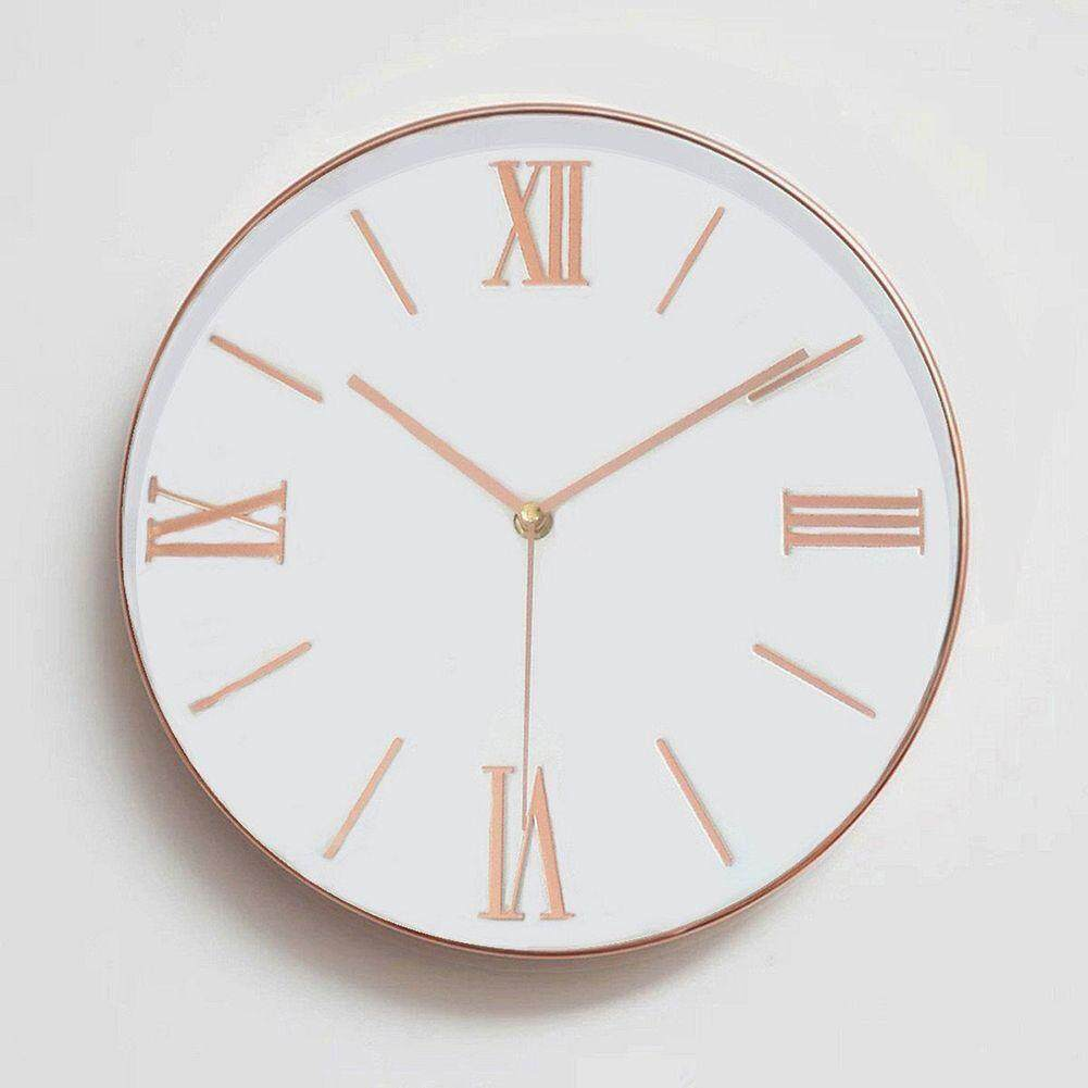 12 Inch Universal Silent Non-ticking Roman Numeral Wall Clock - Large Decorative Clock for Living Room Office Kitchen, Rose Gold - intl