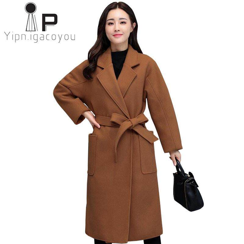 dae3eb7fb2a64 Coat Women Winter Outwear 2018 Plus size Warm Female Long Woolen Coat Fall  Caramel Camel Coats