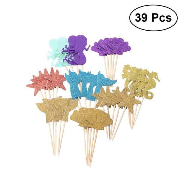 39PCS Mermaid Theme Cake Decoration Cupcake Topper Purple Mermaid2 Blue