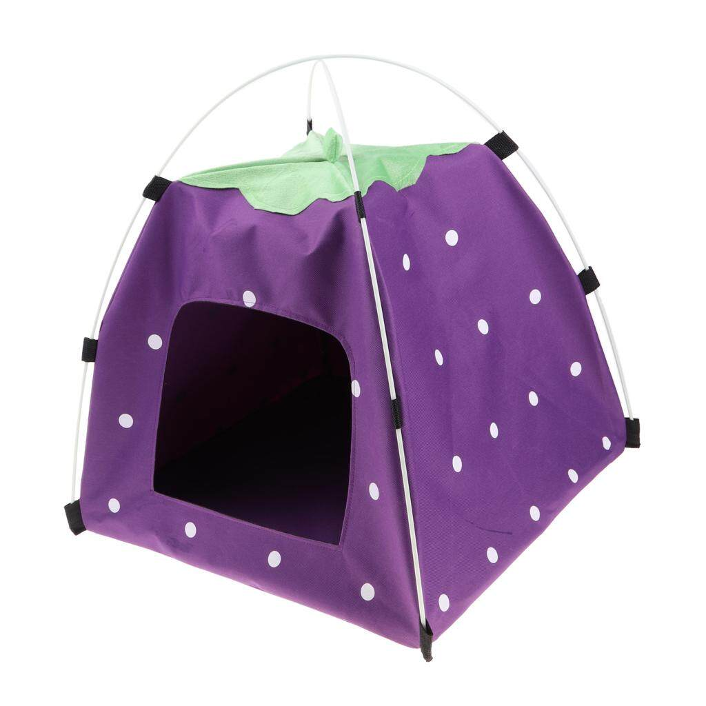 Bolehdeals Strawberry Doghouse Cute Puppy Cat Cave Pet House For Small Animals Purple By Bolehdeals.