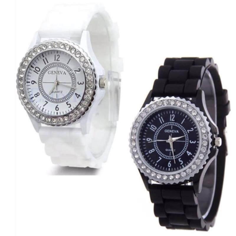 [Set of 2] Diamond Girls Silicone Jelly Quartz Analog Sports Wrist Women Watch Malaysia