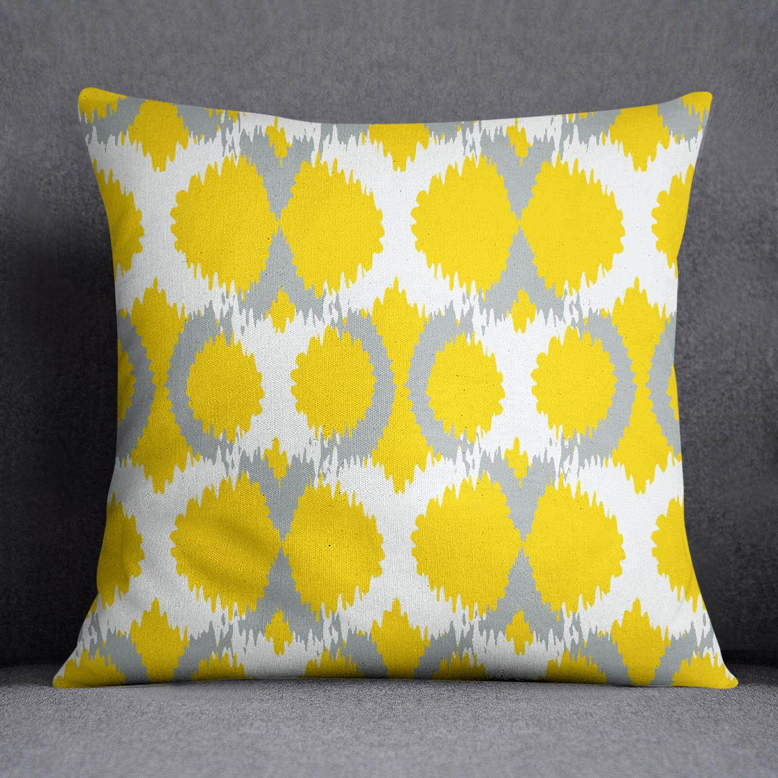 S4Sassy Decorative Yellow Pillow Case Throw Square Cushion Cover Ikat