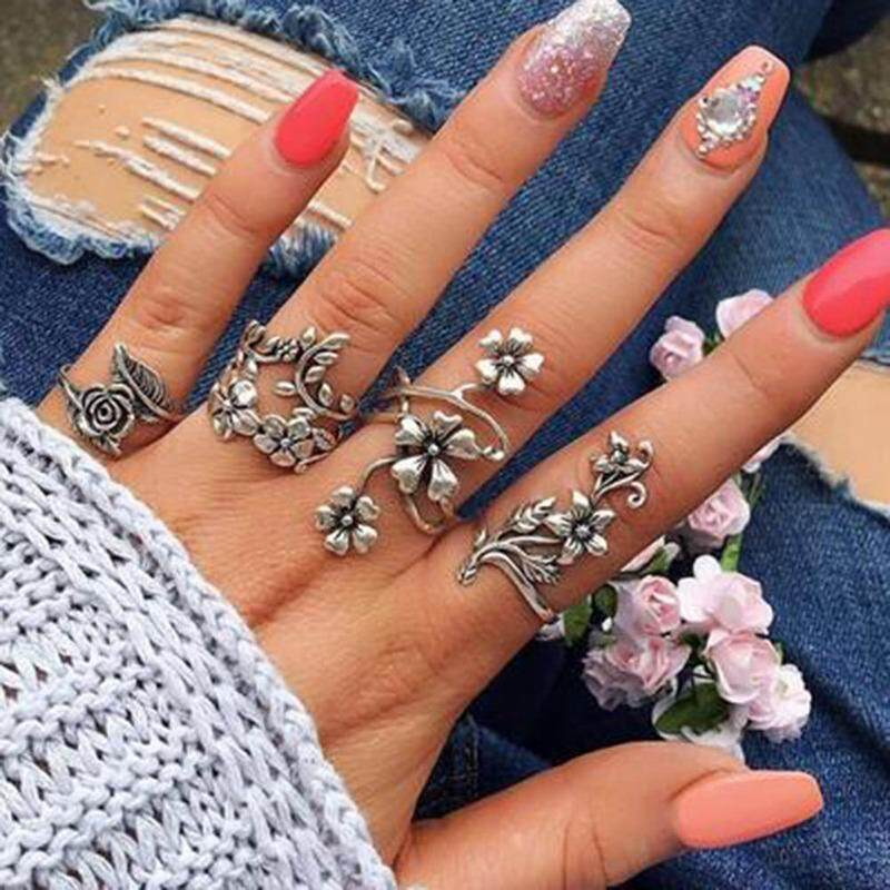 Bzy 4pcs/set Vintage Carved Rose Flower Leaf Knuckle Ring Set Ancient Sterling Silver Hollow Flowers Vine Leaves Rings Sets Jewelry By Beautyzy.