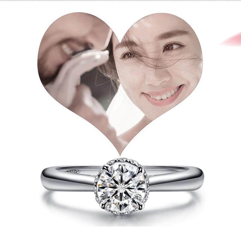 Mewah 1ct SONA Diamond Cincin Kawin Wanita Pertunangan Perak Pita Platina Cincin Wanita Gadis Perhiasan Jari