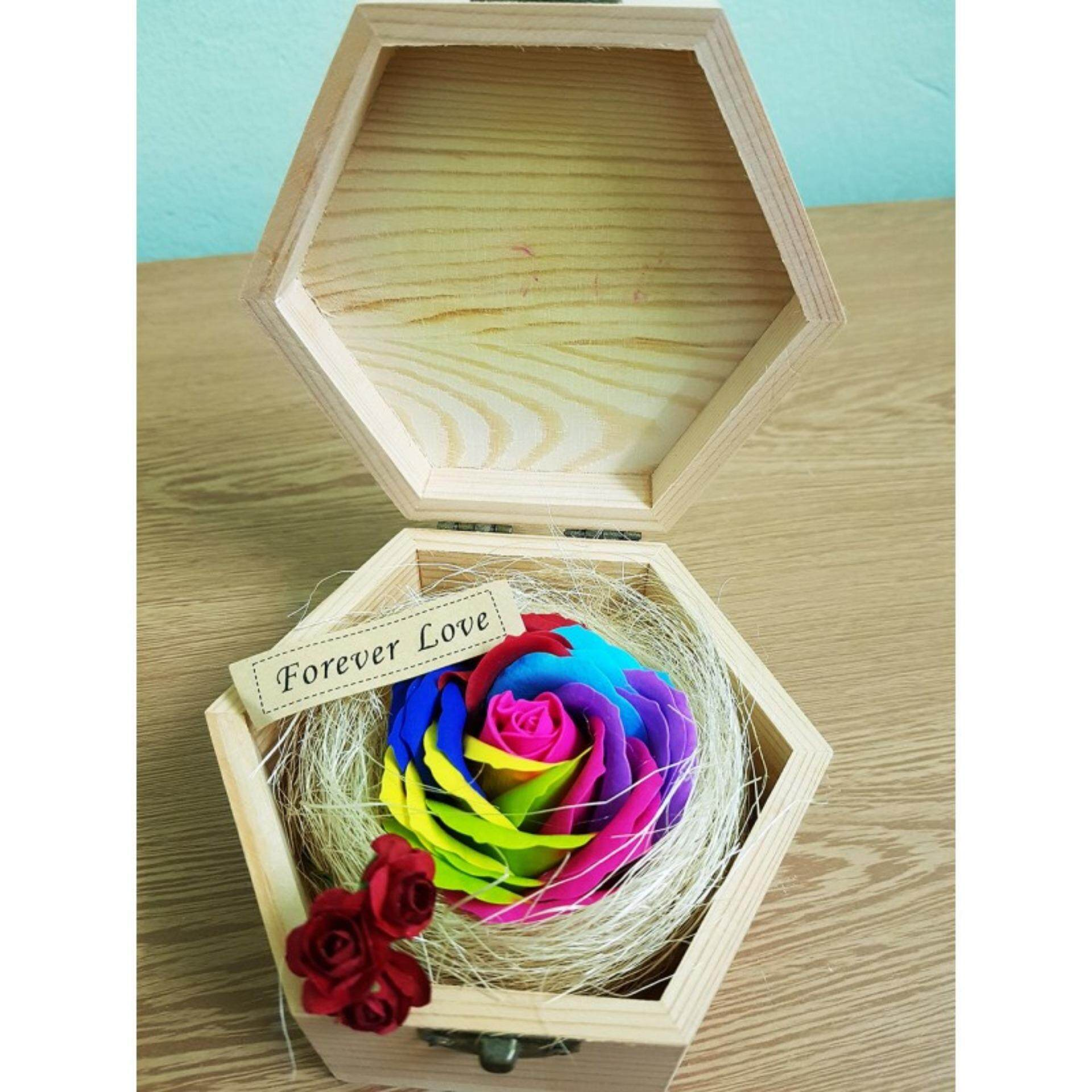 Colorful Rose In Wooden Box