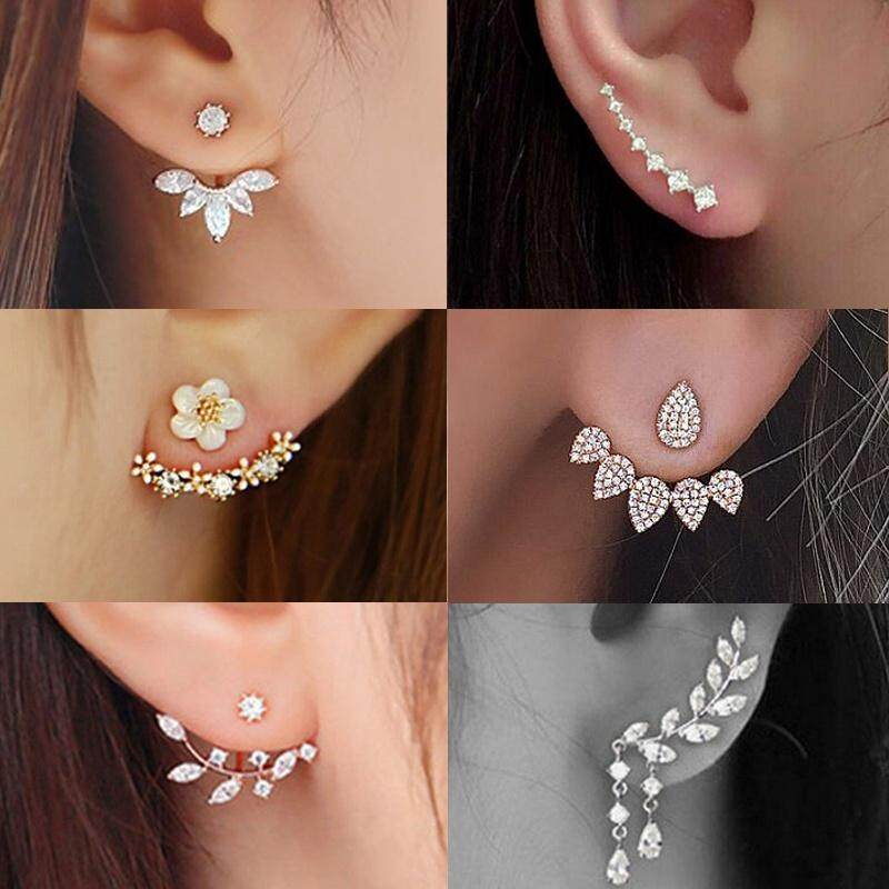 6 Style Double Side Crystal Flower Shaped Earings Hypoallergenic Ear Stud