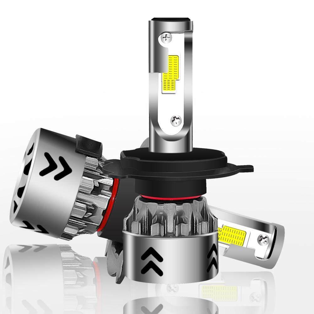 2 PCS H4 27W 3000LM 6000K Pure White Hi/Lo Beams COB Chips LED Headlight
