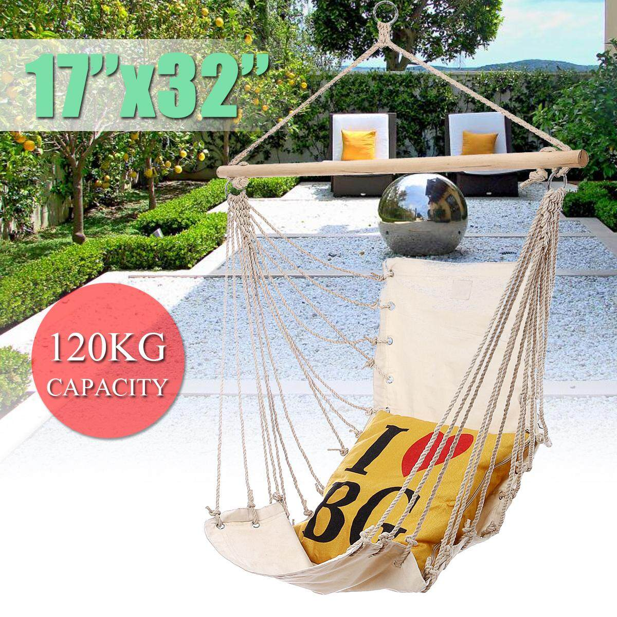 3PCS 32x17 Hanging Hammock Chair Swing Outdoor Indoor Camping Garden White Canvas