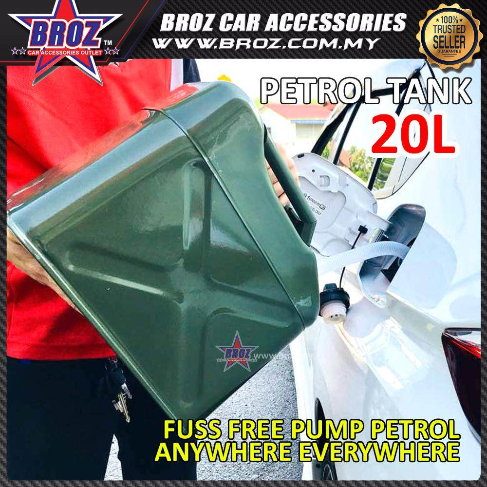 Broz 20L Fuel Tank Cans Spare Steel Petrol Motorcycle Gas Gasoline Oil Container