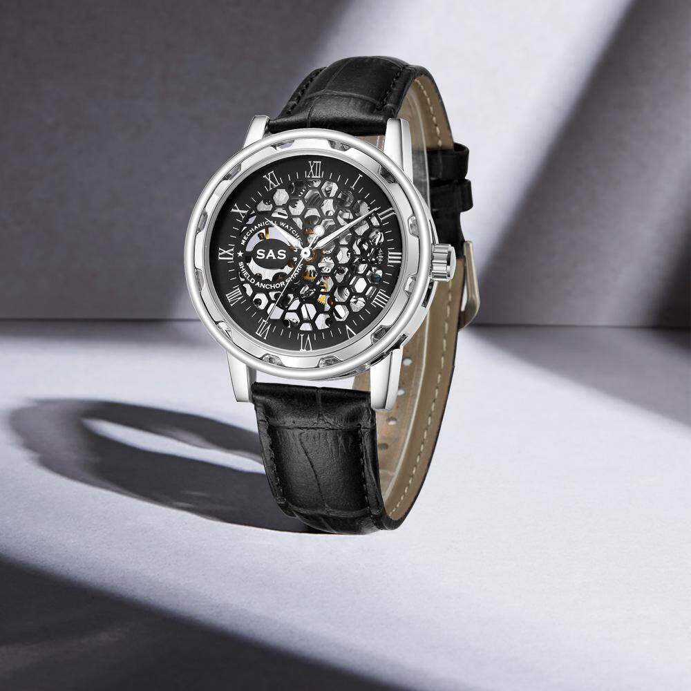 Black Leather Band Honeycomb Hollow Dial Casual Skeleton Mechanical Watch Men's Luxury Fashion .
