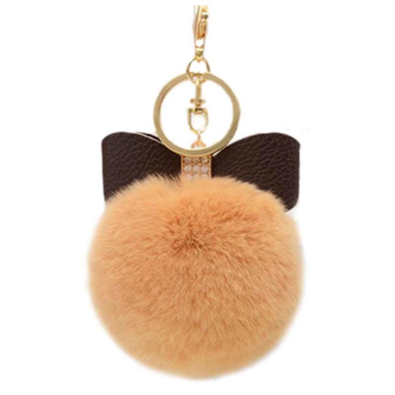 935798c37861 8CM Bowknot Fur Pom Keychain Genuine Rex Rabbit Fur Ball Key Chains Fur Key  Ring Key