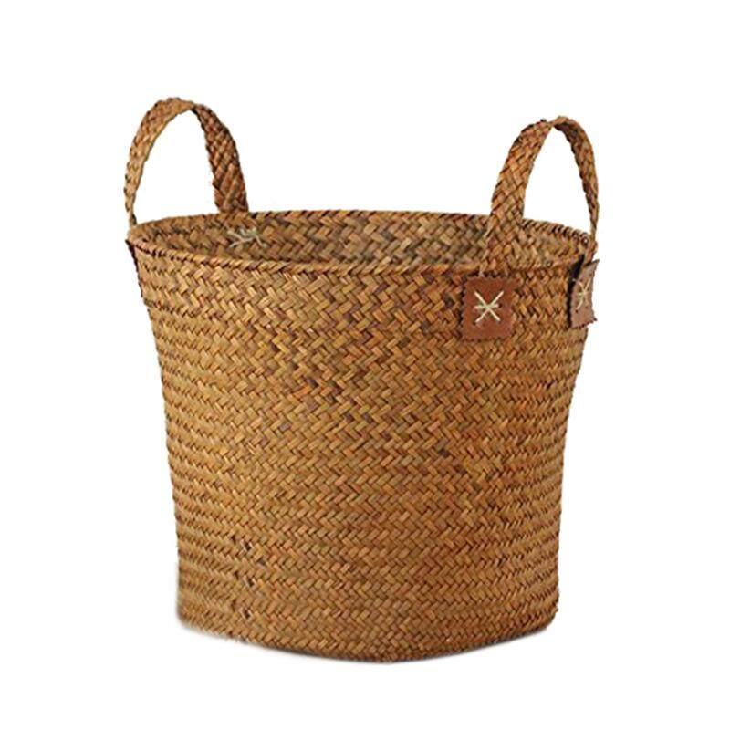Natural Round Straw Basket Bin Handmade with Handgrip Orange 33X21X26cm - intl
